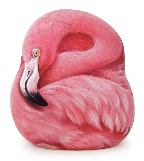 Pink flamingo - acrylic on rock | Rock Painting Art by Roberto Rizzo | www.robertorizzo.com