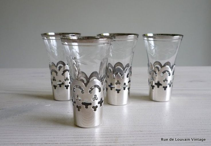 Shot glasses in silver plated holders, set of 4 mid century drinks glasses, vintage liquor glasses by RueDeLouvain on Etsy