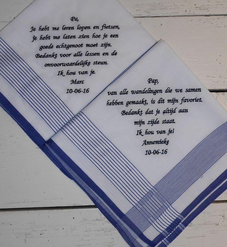 Herenzakdoeken wit fijne streep blauw wedding papa zakdoeken 10-06-2016 http://www.borduurkoning.nl/shop/Bruiloft