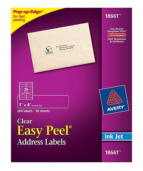 Easy Peel Clear Address Labels for Inkjet Printers - Set of 200