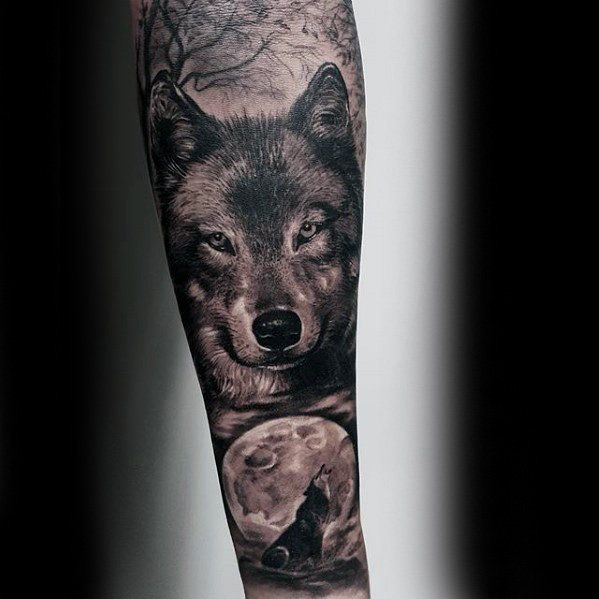 Wolf Howling At Moon Guys Realistic Forearm Sleeve Tattoo Ideas Forearm Sleeve Tattoos Wolf And Moon Tattoo Wolf Tattoo Sleeve