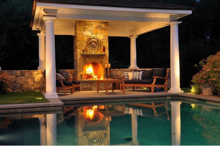 Backyard landscaping design ideas swimming pool for Pool with fireplace