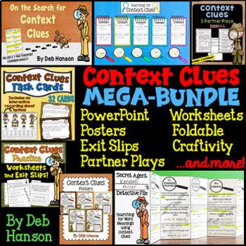 This bundle contains 14 engaging activities you can use while teaching your students about using context clues to determine unknown words as they read. I focus on the following five types of context clues:  DEFINITION clues SYNONYM OR RESTATEMENT clues ANTONYM OR CONTRAST clues EXAMPLES clues INFERENCE clues