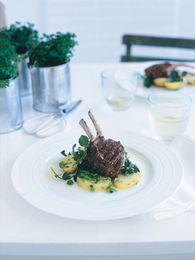 spring lamb cutlets with potato, pea and tarragon salad