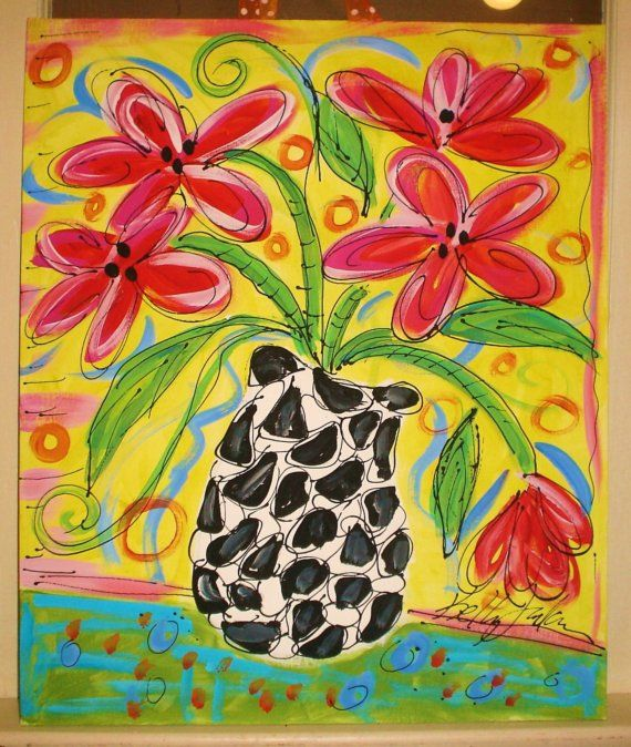 Funky Flowers Painting Any Colors Made To Order by YelliKelli, $75.00