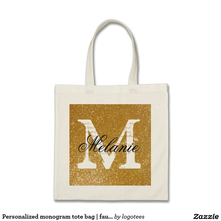 Personalized monogram tote bag   faux gold glitter