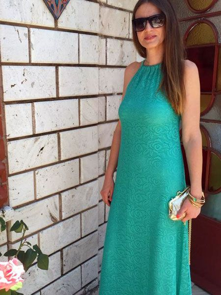 Μακρύ φόρεμα σε δαντέλα και ίδιου χρώματος μακό για φόδρα της Μ. Σεμινάριο Κοπτική-Ραπτική Γ΄Κύκλος.