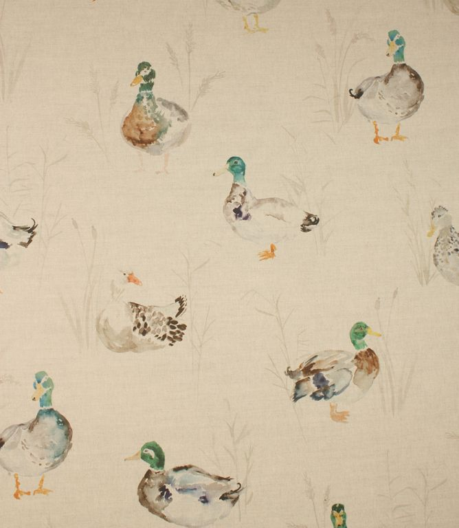 Due to licensing we can't discount these fabrics online during our Winter SALE, so please call 08454989043 to get our Winter SALE discount of 20% off Our Price. This paddling ducks fabric have ducks are all over it. This traditional fabric is made from cotton and linen.  A great curtain material which is also suitable for cushions and blinds. Our online store and shops in Burford and Cheltenham have huge stocks of discount curtain and upholstery fabrics.