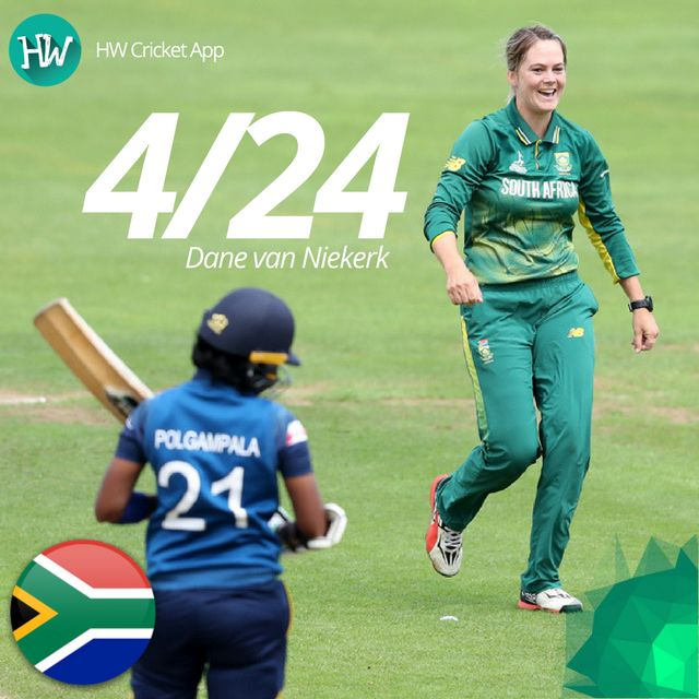 There is no stopping Dane van Niekerk at the moment. Her bowling has been impeccable and today was no exception! #WWC17 #SAvSL #SA #SL #cricket