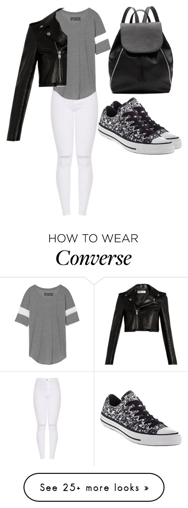 """""""Fashionably old movie"""" by jmccauley-i on Polyvore featuring Witchery, Converse and Yves Saint Laurent"""