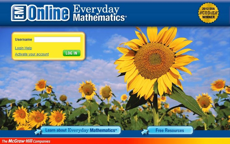 Everyday Mathematics Login Page (need username and password)