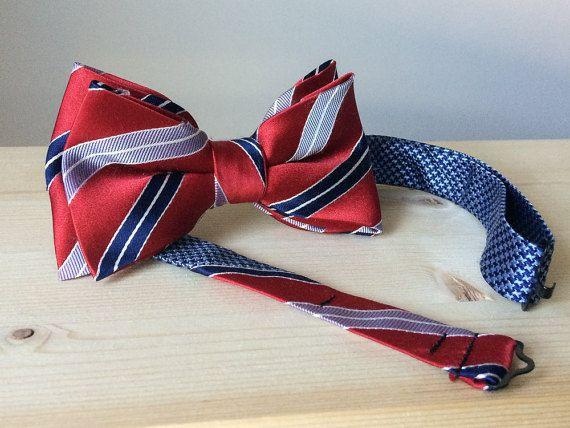 Noeud soie rouge vif rayures bleues  pré noué  par MorinNoeudPap