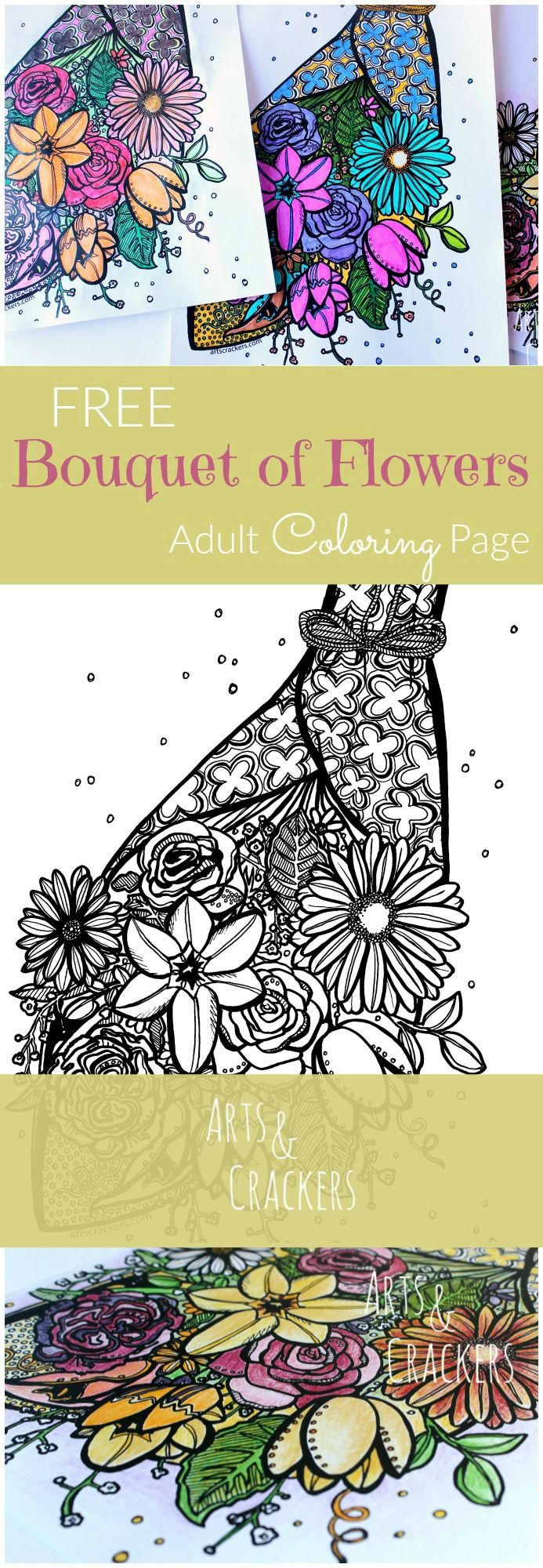 Free coloring pages spring flowers - Free Flower Bouquet Adult Coloring Page