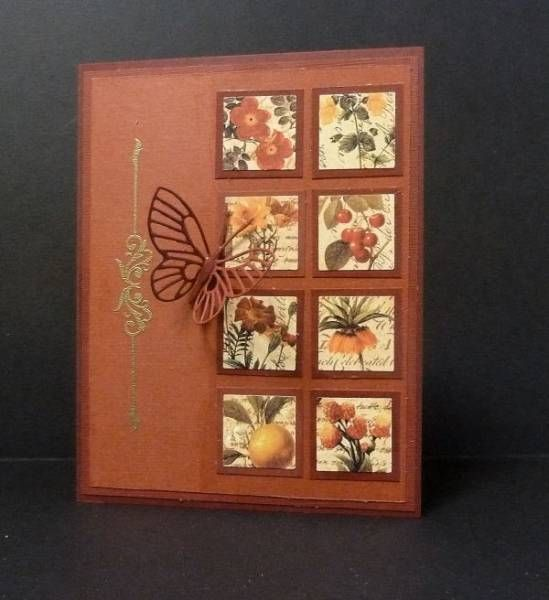 hand crafted card ... double column of matted inchies from small patterned paper ...die cut butterfly .... Fall colors ...