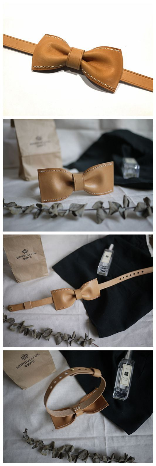 Personalized Handmade Vegetable Tanned Leather Bow Tie, Groomsmen Bow Tie, Wedding Bow Tie BT01