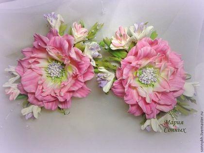 Подхват для штор - цветы для штор,розовый цвет,цветы из фоамирана,ревелюр