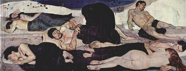 Night, 1890 by Ferdinand Hodler. Art Nouveau (Modern). symbolic painting. Kunstmuseum Bern, Switzerland