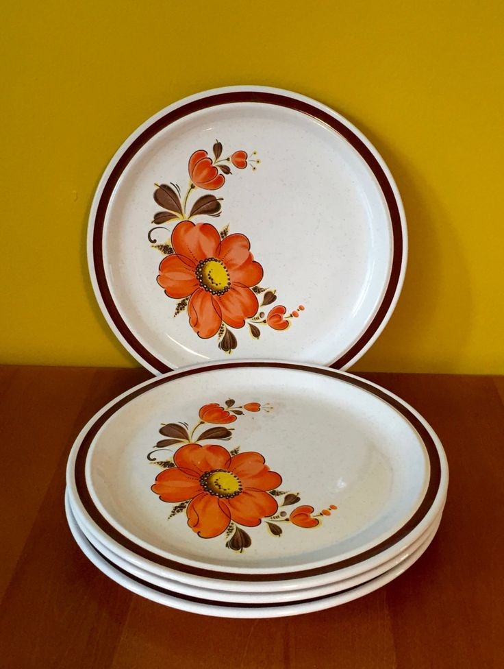 Vintage Floral Stoneware Dinner Plates / Retro Orange Quince Flower Japan Speckle Dishes / Valencia Dinnerware/ Set of 4 by SecondLoveXO on Etsy