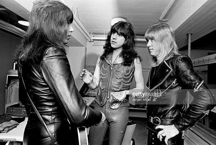 Andy Scott, Mick Tucker and Brian Connolly of The Sweet backstage in the dressing room in April 1975 in Copenhagen, Denmark.