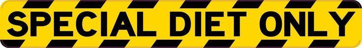10in x 1.25in Special Diet Only Warning Sticker Vinyl Window Decal