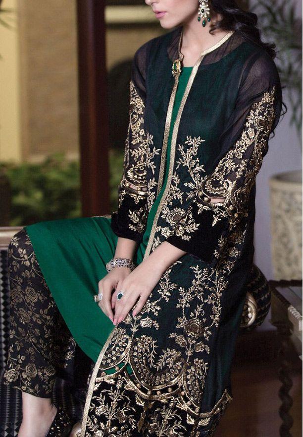 Buy Black/Green Embroidered Chiffon Dress (2pc) by Maria B. 2016