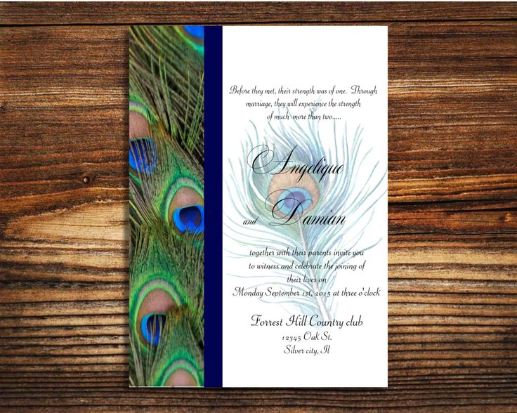 instant template download peacock wedding invitation