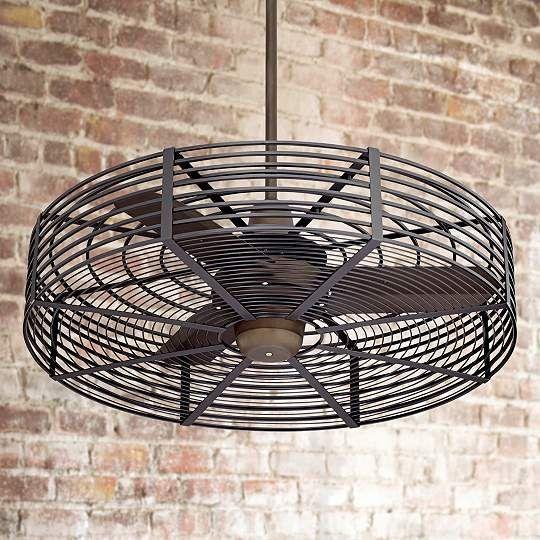 32-Inch Vintage Breeze Cage Ceiling Fan in Bronze - Black - #EU1H576-1H578-82303 - Euro Style Lighting