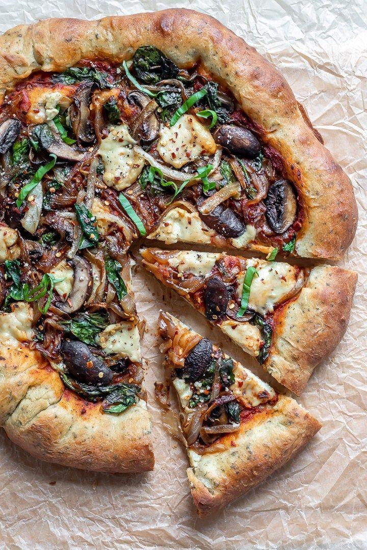 Vegan Stuffed Crust Pizza With Homemade Mozzarella And Herb Crust Recipe Vegan Pizza Recipe Vegan Pizza Vegan Comfort Food