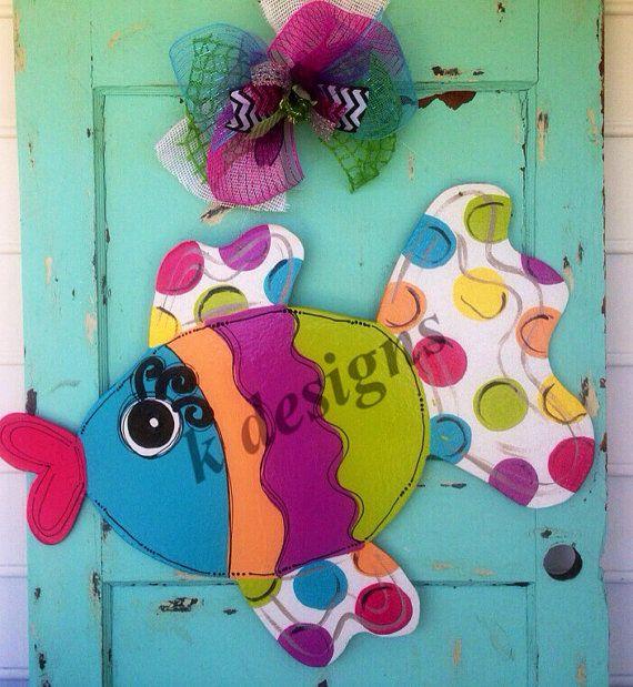 Summer fish door hanger, summer door sign on Etsy, $45.00