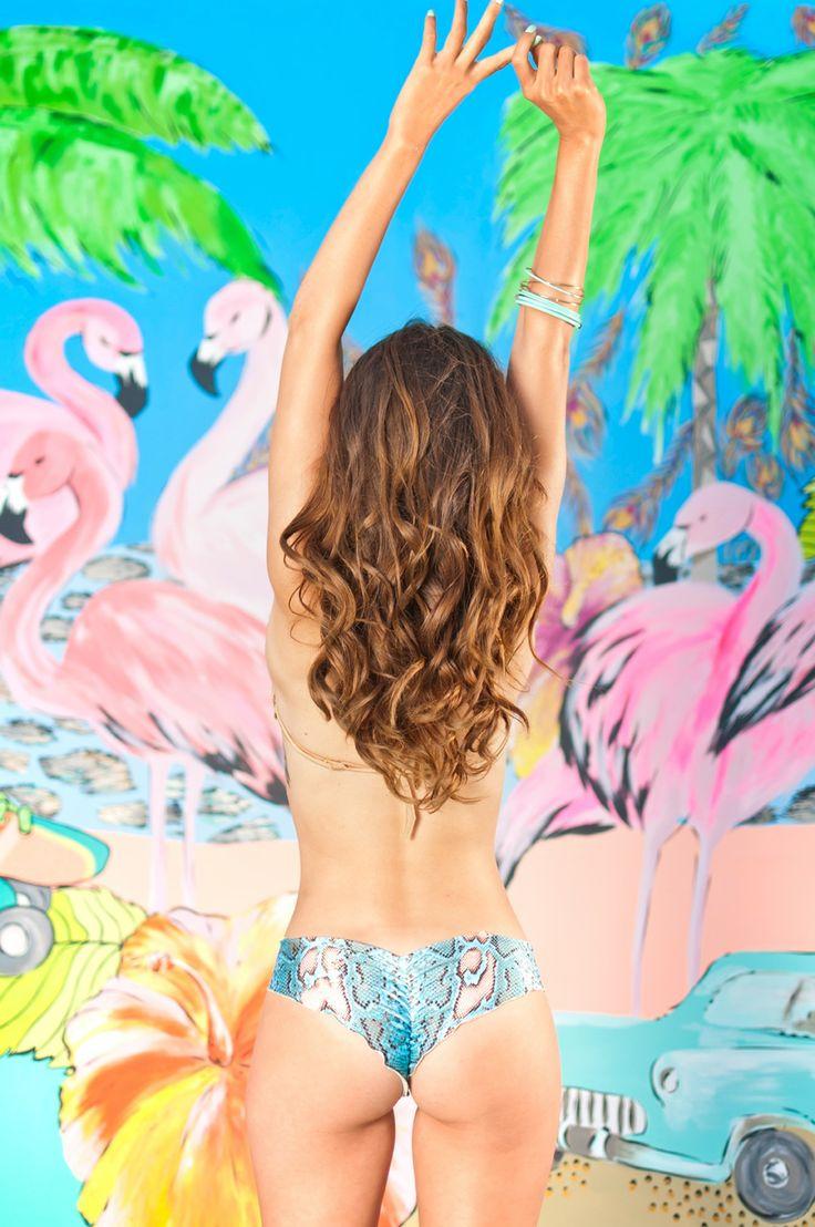 Flamingo Swimwear Miami Beach New Collection 2014. Triangle Moderate Snake bikini.  www.flamingoswimwear.com
