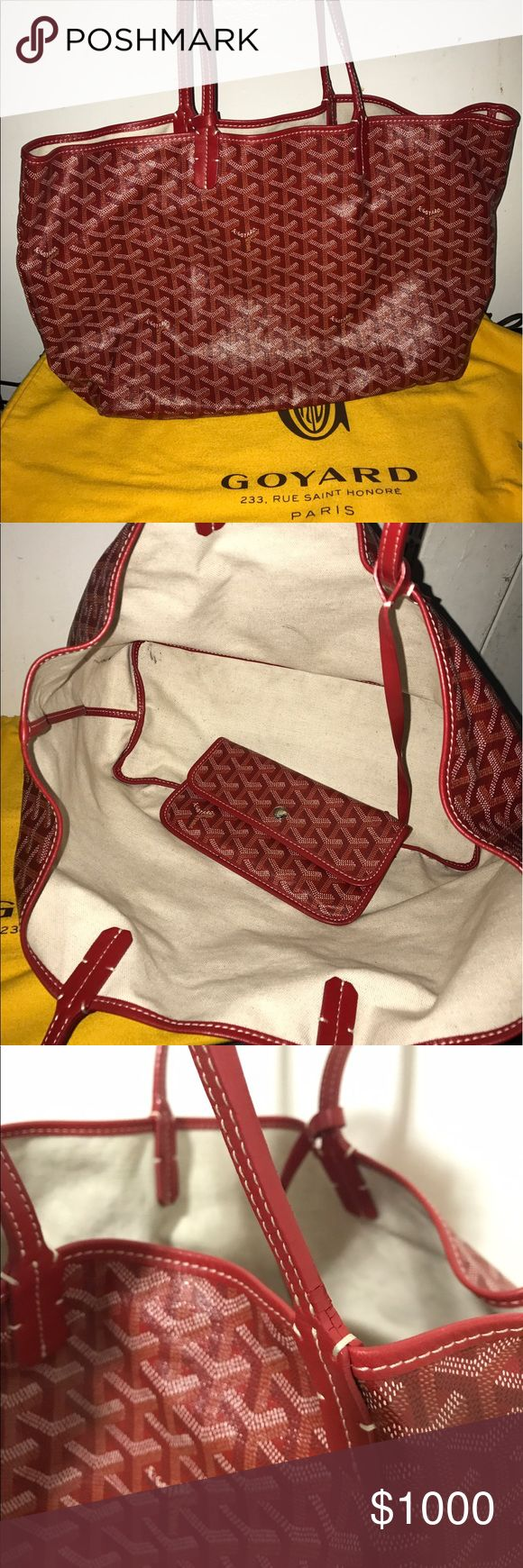 Goyard St. Louis PM in Red I've had this bag for about 6 years now. It's still in really good shape. I'd say 8/10. I take really good care of all my bags. Goyard has amazing quality. There is sign of wear on handles which is totally normal for this bag, and any tote style bags. I purchased this bag at the Goyard in Beverly Hills. It's 100% authentic. I still also have the receipts, tags, dust bag, etc. I'm asking $800 email me at Anawinbaby@yahoo.com for more info or questions. I'll sell…