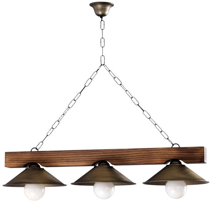 Lámpara de Techo Rústica Viga Madera - 3 Luces