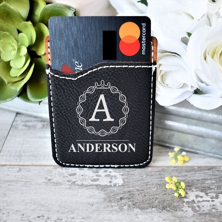 Leather Cell Phone Wallet, Phone ID holder, Monogram Wallet, Last Name Debit Card Case