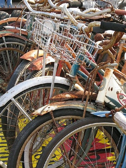 Bicycle heaven! With 4 sblings & years of bike riding for all of us, we used to have a simlar pile of special, rusty memories!