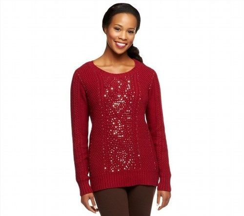 50.46$  Watch here - http://vicod.justgood.pw/vig/item.php?t=gh3ajr19462 - Kelly Clinton Cable Knit Scoop Neck Long Slv Sweater Sequin Wine 3X NEW A238382 50.46$