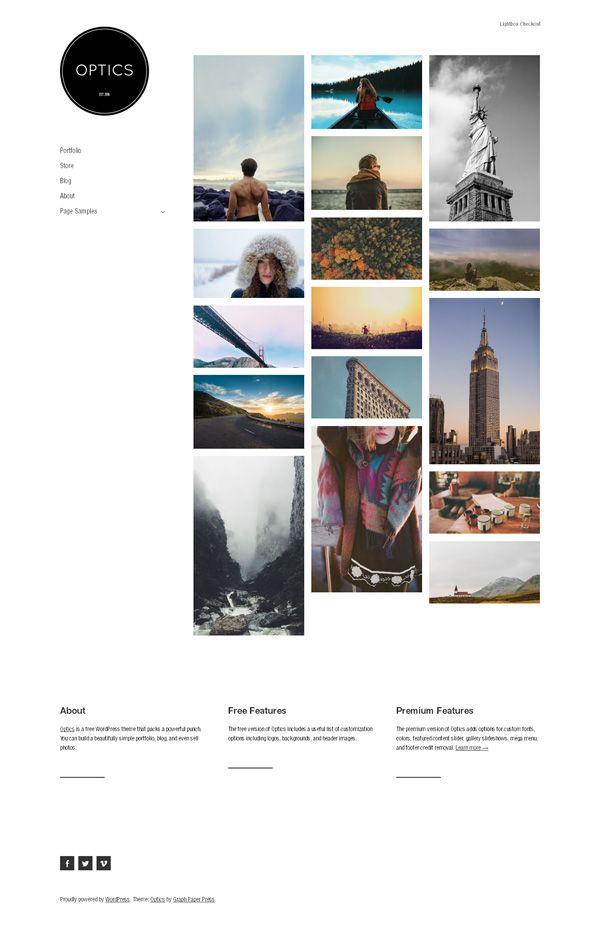 Optics Portfolio Wordpress Theme - Free Download
