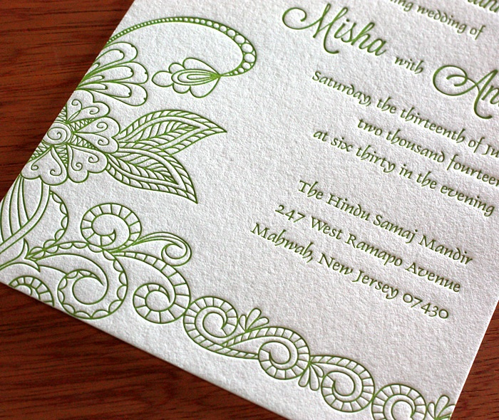 Misha indian wedding card - letterpress wedding invitation