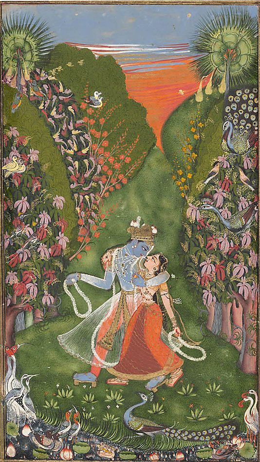 The Kota Master (Indian, active in the early 18th century). Radha and Krishna Walk in a Flowering Grove (recto); Krishna Fluting (verso), ca. 1720 (recto); ca. 1750–75 (verso). The Metropolitan Museum of Art, New York. Cynthia Hazen Polsky and Leon B. Polsky Fund, 2003 (2003.178a, b) | Krishna and Radha's bodies and garments, like the floral garlands they hold, appear suspended in motion, while the setting vibrates to their ecstasy. #spring