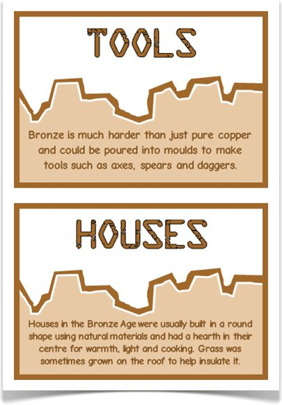 Bronze Age Fact Cards - Treetop Displays - A set of 20 A5 fact cards that give fun and interesting facts about the Bronze Age. Each fact card has a key word heading, making this set an excellent word bank as well! Visit our website for more information and for other printable resources by clicking on the provided links. Designed for Early Years (EYFS), Key Stage 1 (KS1) and Key Stage 2 (KS2).