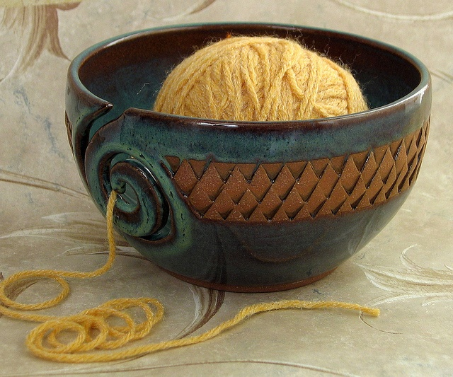 Amber and Sea Green Yarn Bowl by MudsEvolutionPottery, via Flickr