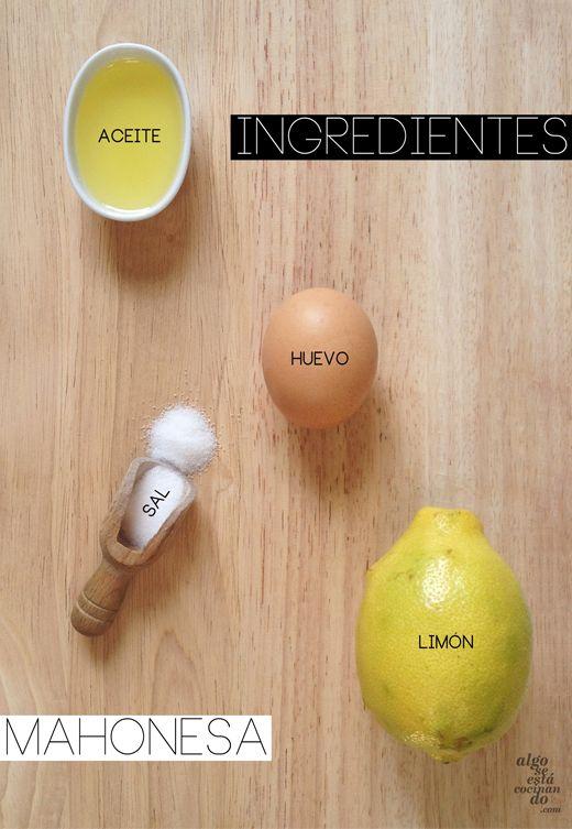 Ingredientes para mahonesa o mayonesa