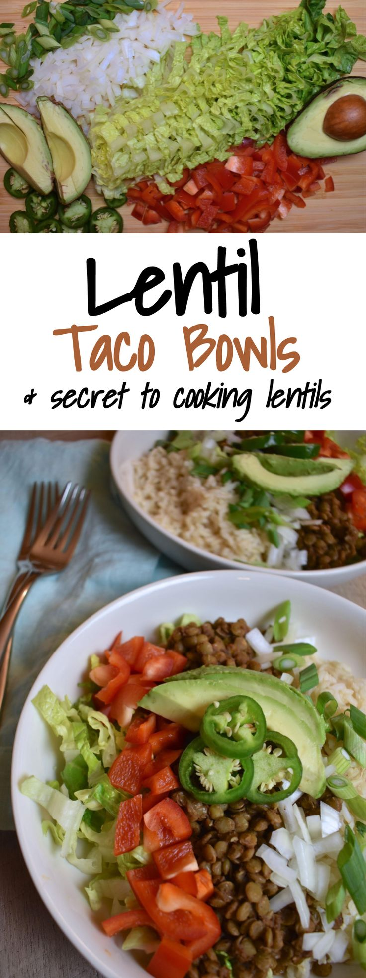 Lentil Taco Bowls | the secret to cooking lentils | how to cook lentils