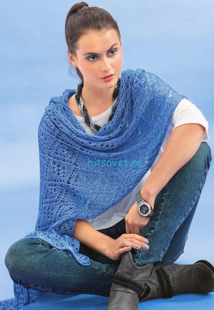 Голубая меланжевая шаль спицами http://hitsovet.ru/golubaya-melanzhevaya-shal-spicami/