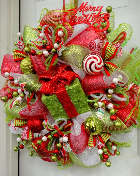 LIMItED Version – RAZ Type Deco Mesh Christmas Wreath – Pink and Lime Inexperienced – Raz Decorations – Whimsical Wreath – Christmas Decor