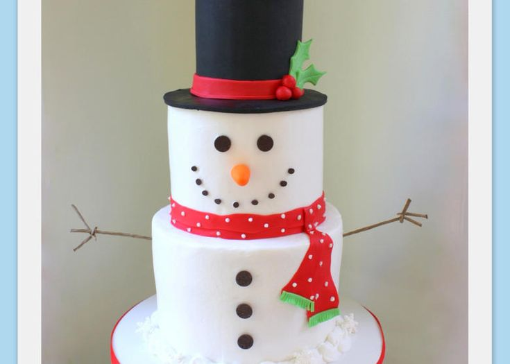 Sweet Snowman Cake! A cake decorating video tutorial by MyCakeSchool.com.