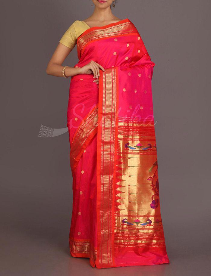 Nanda Fuchsia Pink Polka Dots Blossoming Real Zari #PaithaniSilkSaree