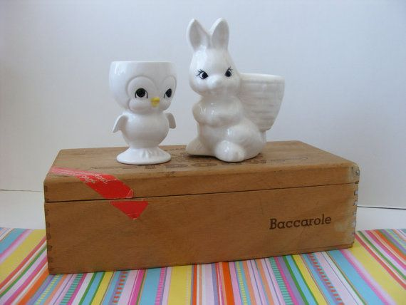 2 Vintage Egg Cups Egg Holders White Footed Chick by TinsAndThings