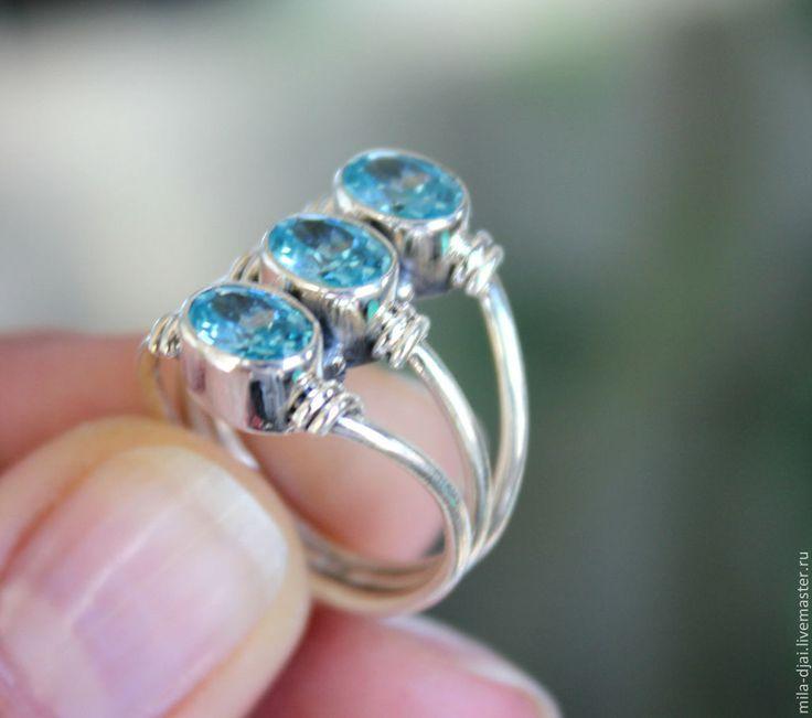 """Купить Кольцо """"ТРИО"""" топаз в серебре СКИДКА -20% - голубой, натуральные камни"""