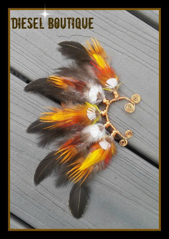Tanami Blaze  Feather Earcuff gypsy boho van dieselboutique op Etsy