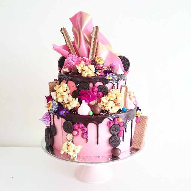 Small 2 Tier Hero Cake With Pink Chocolate Crown Note The